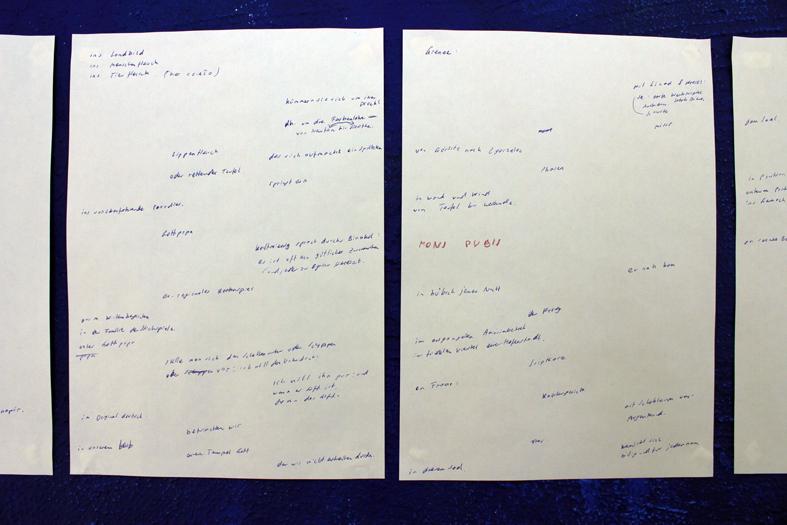 "Peter Wegenschimmel, ""wir studierten an der HU :  lernten Strukturbäume malen bei Pani Nagórko : bald geht sie in Rente : hinterher rufen wir : verübel dem Dichter dieNachforschung nicht. [Feldforschung REGIO]"" (detail), 2012"