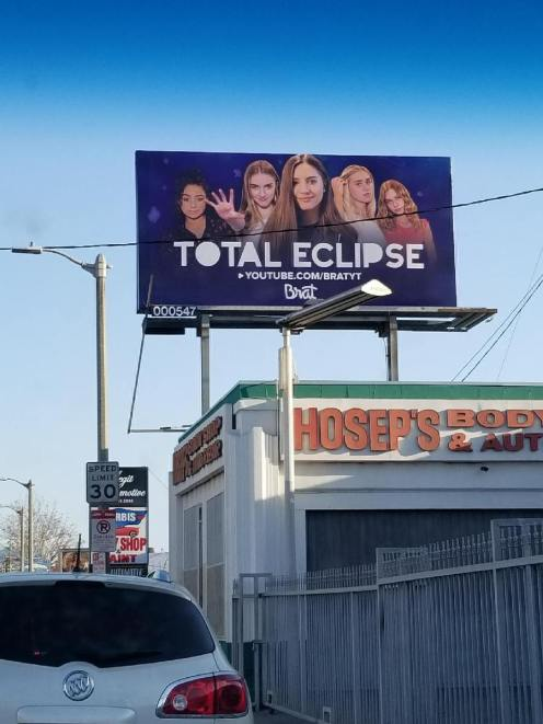Total Eclipse banner in Los Angeles. Photo by Evelyn Ellias