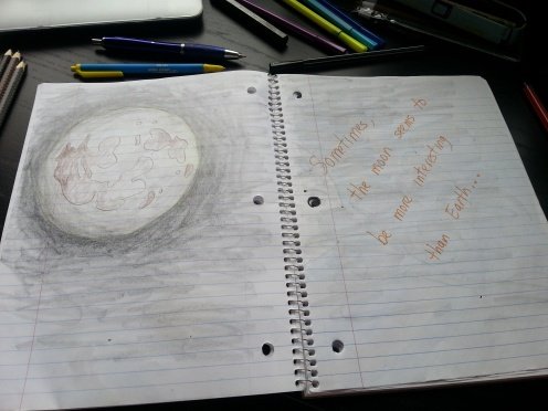 Notebook with Cassie's moon drawings. By Frida Cano